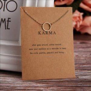 Dainty one circle karma necklace